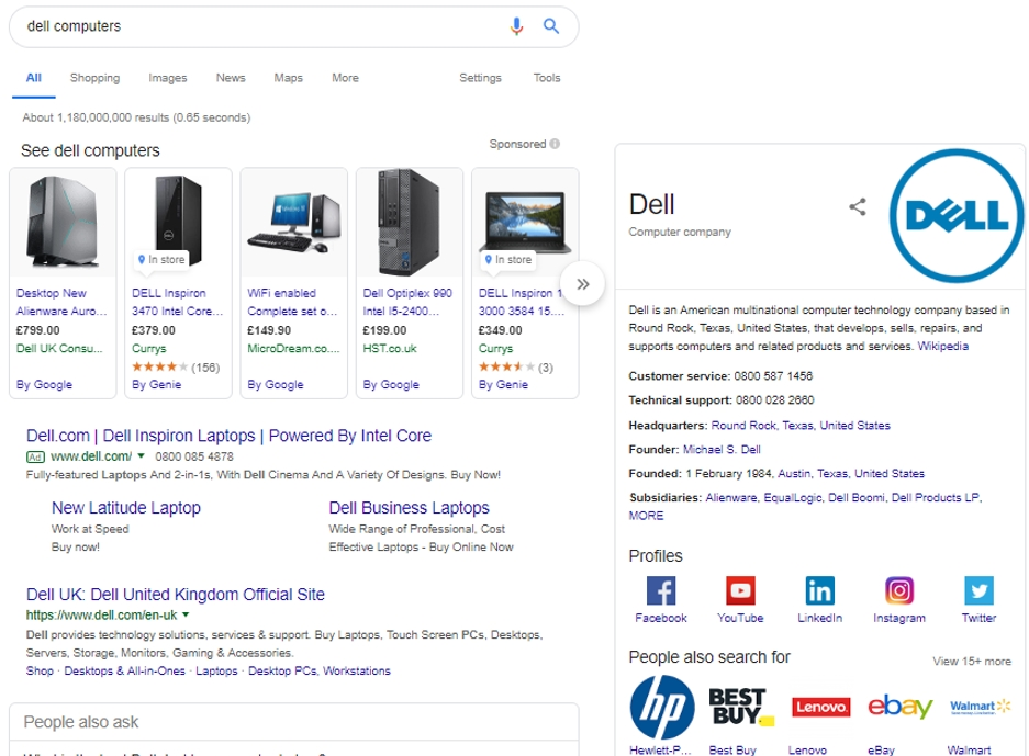 Google SERP for Dell 2019