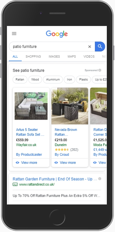 Google SERP Patio Furniture 2019 Mobile
