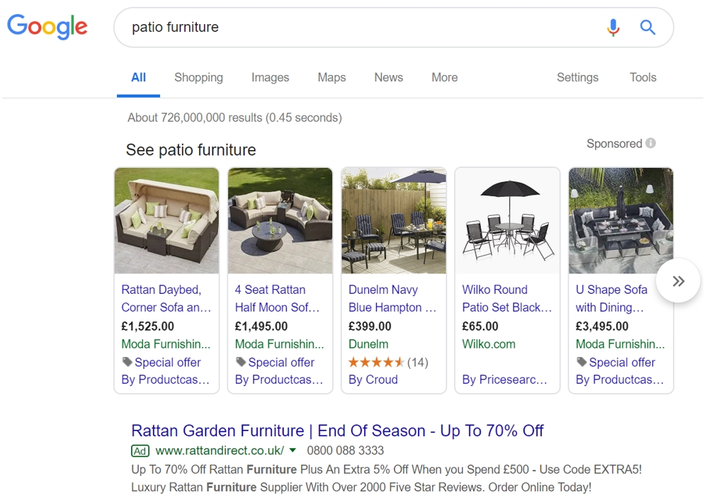 Google SERP Patio Furniture 2019